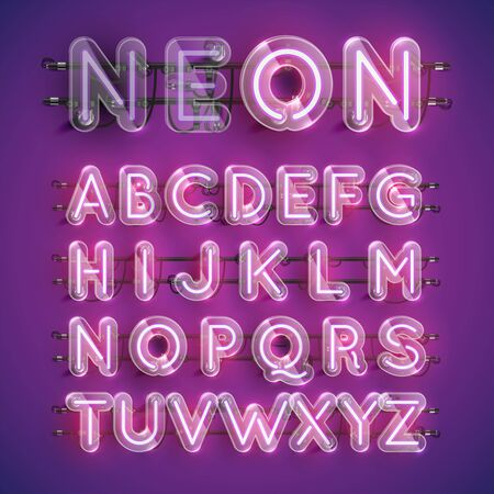 Realistischer lila Neon-Zeichensatz mit Plastikhülle herum, Vektorillustration