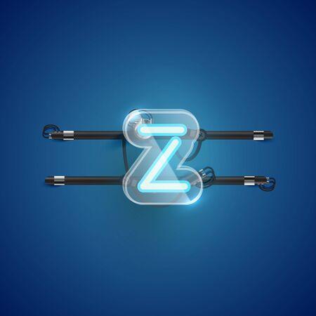 Realistic neon Z character with plastic case around, vector illustration Illusztráció