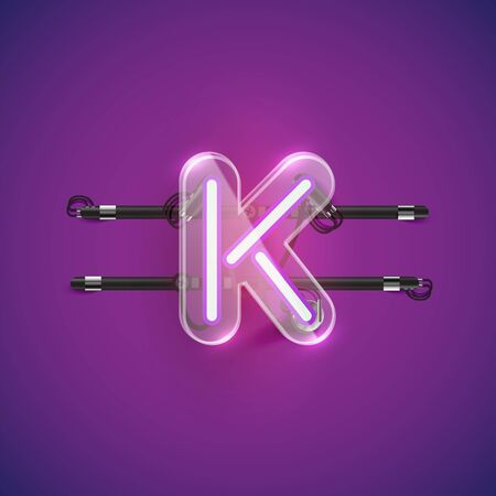 Realistic neon K character with plastic case around, vector illustration