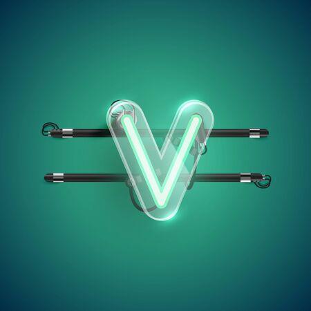 Realistic neon V character with plastic case around, vector illustration Illusztráció