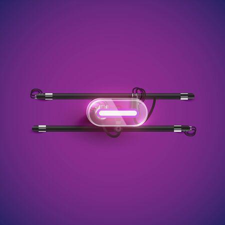 Realistic neon 'minus' character with plastic case around, vector illustration Illusztráció