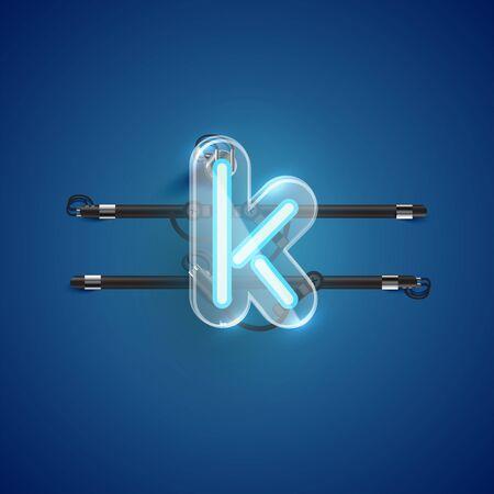 Realistic neon K character with plastic case around, vector illustration Illusztráció