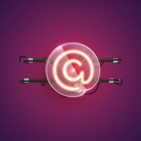 Realistic neon at character with plastic case around, vector illustration