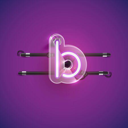 Realistic neon B character with plastic case around, vector illustration Illusztráció