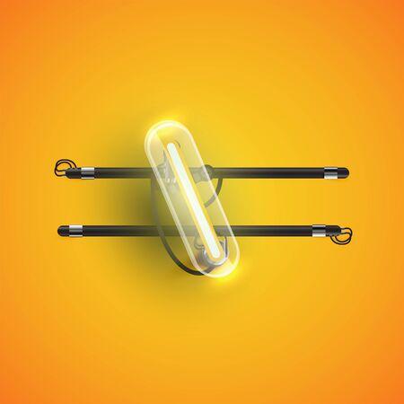 Realistic neon backslash character with plastic case around, vector illustration Çizim