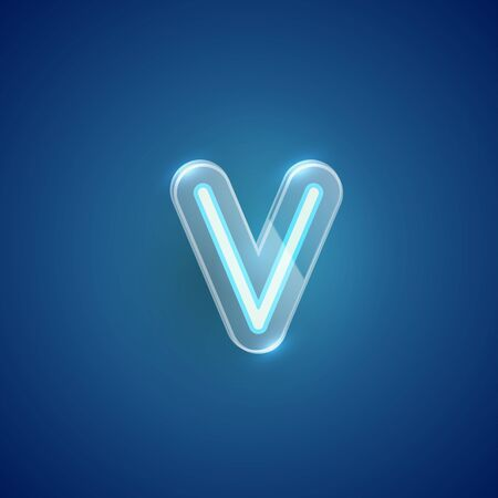Realistic neon V character with plastic case around, vector illustration