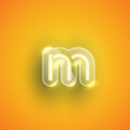 Realistic neon M character with plastic case around, vector illustration