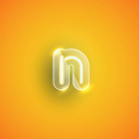 Realistic neon N character with plastic case around, vector illustration