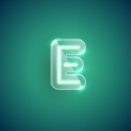 Realistic neon character with plastic case around, vector illustration