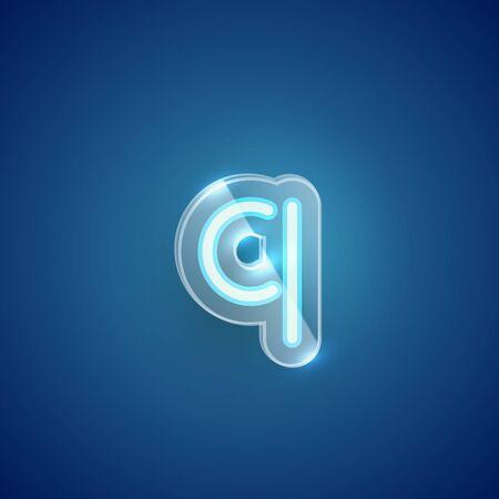 Realistic neon Q character with plastic case around, vector illustration Иллюстрация