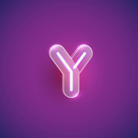 Realistic neon Y character with plastic case around, vector illustration