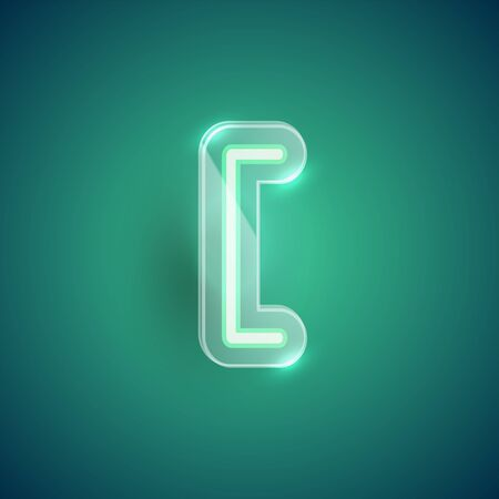 Realistic neon bracket character with plastic case around, vector illustration