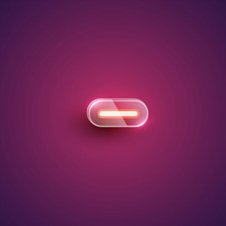 Realistic neon minus character with plastic case around, vector illustration