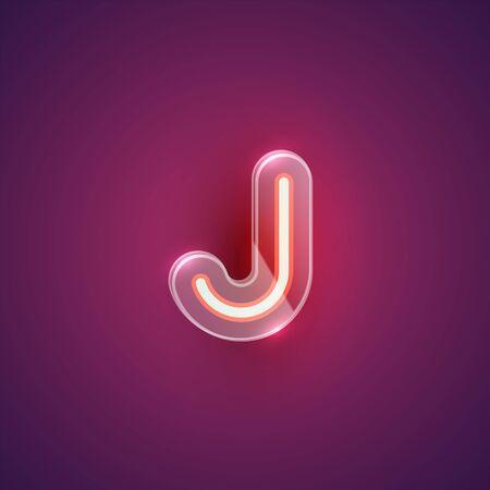Realistic neon J character with plastic case around, vector illustration Иллюстрация