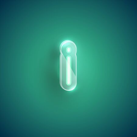 Realistic neon I character with plastic case around, vector illustration Иллюстрация