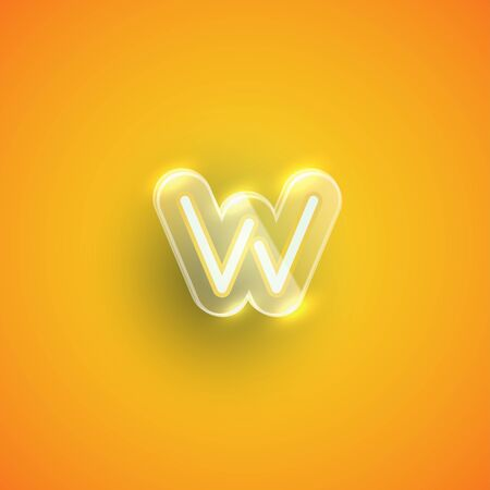 Realistic neon W character with plastic case around, vector illustration