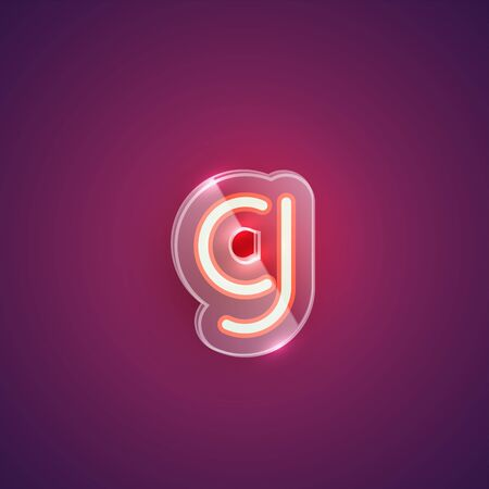 Realistic neon G character with plastic case around, vector illustration