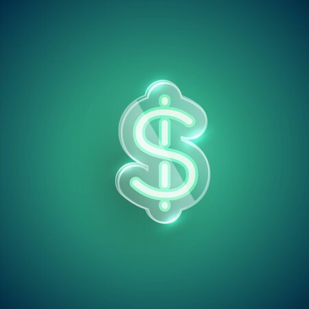 Realistic neon dollar sign character with plastic case around, vector illustration