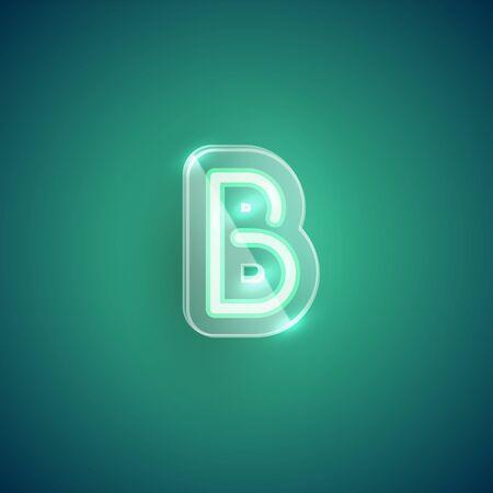 Realistic neon B character with plastic case around, vector illustration Иллюстрация