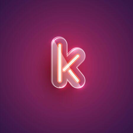 Realistic neon K character with plastic case around, vector illustration Иллюстрация