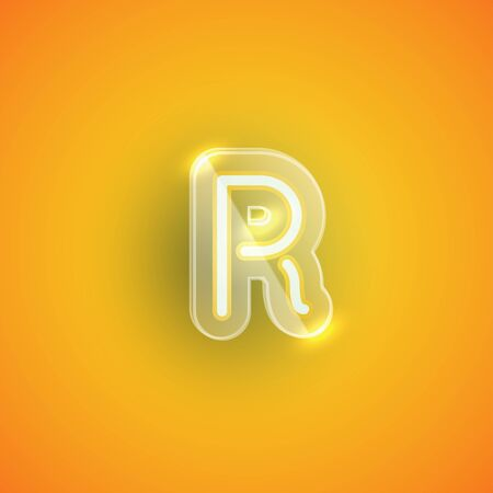 Realistic neon R character with plastic case around, vector illustration Иллюстрация