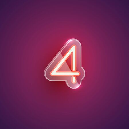 Realistic neon '4' character with plastic case around, vector illustration