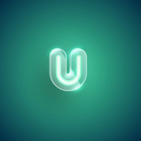 Realistic neon U character with plastic case around, vector illustration