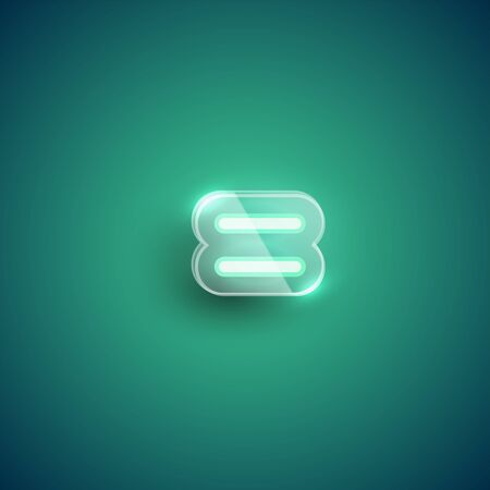 Realistic neon 'equals' character with plastic case around, vector illustration