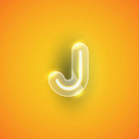 Realistic neon J character with plastic case around, vector illustration Illusztráció