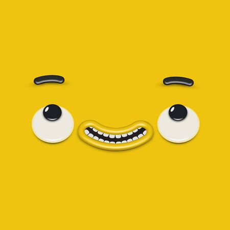 Yellow high-detailed emoticon face, vector illustration Banque d'images - 131948858