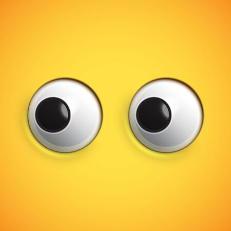 Yellow high-detailed emoticon eyes looking left, vector illustration Banque d'images - 131948987