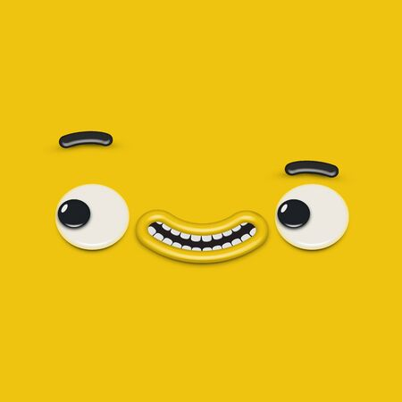 Yellow high-detailed emoticon face, vector illustration Banque d'images - 131949034