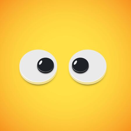 Yellow high-detailed emoticon eyes squinting, vector illustration Banque d'images - 131958350
