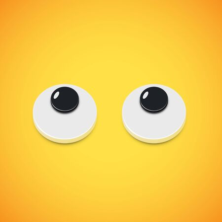 Yellow high-detailed emoticon eyes looking up, vector illustration