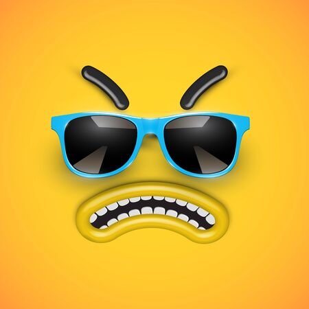 Cute angry emoticon with blue sunglasses, vector illustration