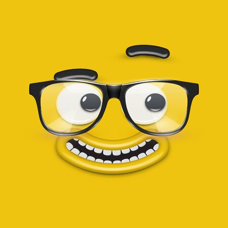 Cute emoticon face with eyeglasses on yellow background, vector illustration