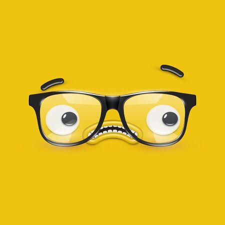 Cute emoticon face with eyeglasses on yellow background, vector illustration Ilustração Vetorial