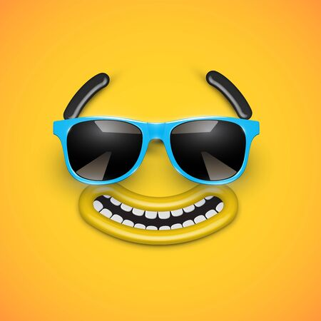 Cute happy emoticon with blue sunglasses, vector illustration