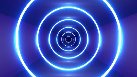 Neon circles in a tunnel, vector