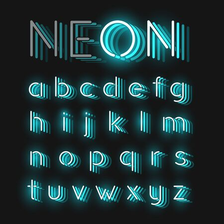 Turquoise neon character font set on black background with reflections, vector illustration