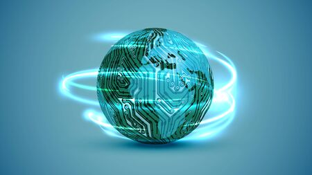 3D globe with electric circuit, vector illustration 版權商用圖片 - 134039977
