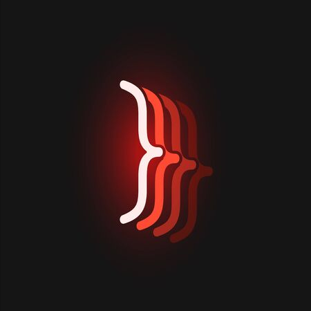 Red neon character font on black background with reflections, vector illustration