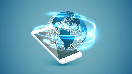 High detailed smartphone connection globe, vector illustration 向量圖像