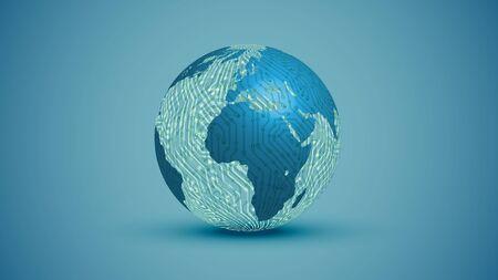 3D globe with electric circuit, vector illustration 版權商用圖片 - 134040286
