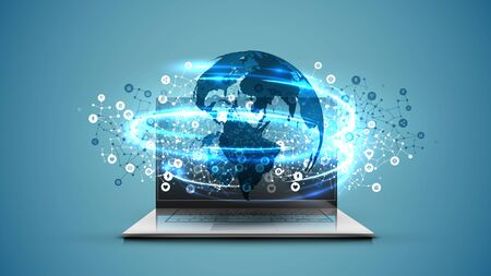 Realistic laptop with 3D world map with blue background, vector illustration 向量圖像