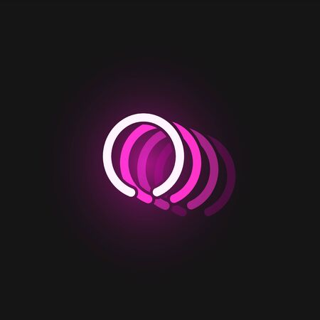Pink neon character font on black background with reflections, vector illustration Vetores