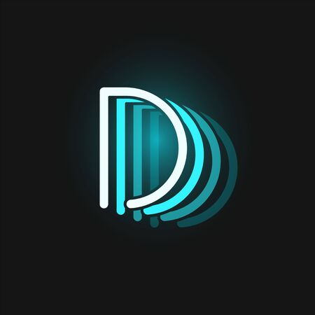 Blue neon character font on black background with reflections, vector illustration