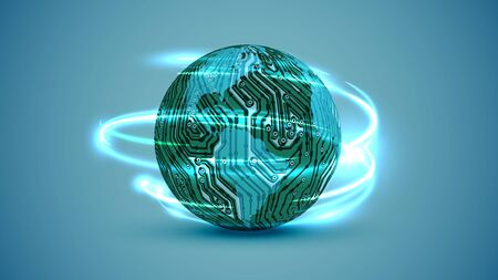 3D globe with electric circuit, vector illustration