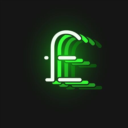 Green neon character font on black background with reflections, vector illustration