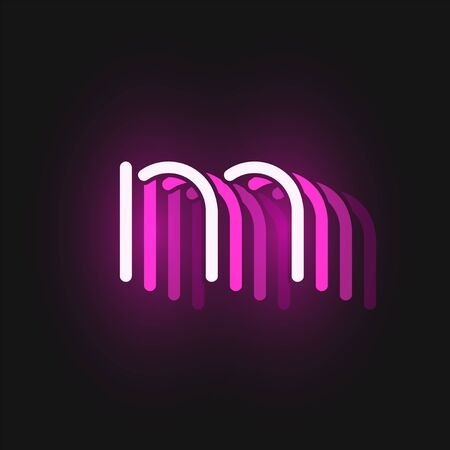 Pink neon character font on black background with reflections, vector illustration